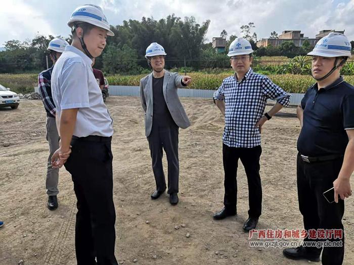 广西物资集团党委书记戴毅到武鸣区镇级污水处理设施项目调研(图)