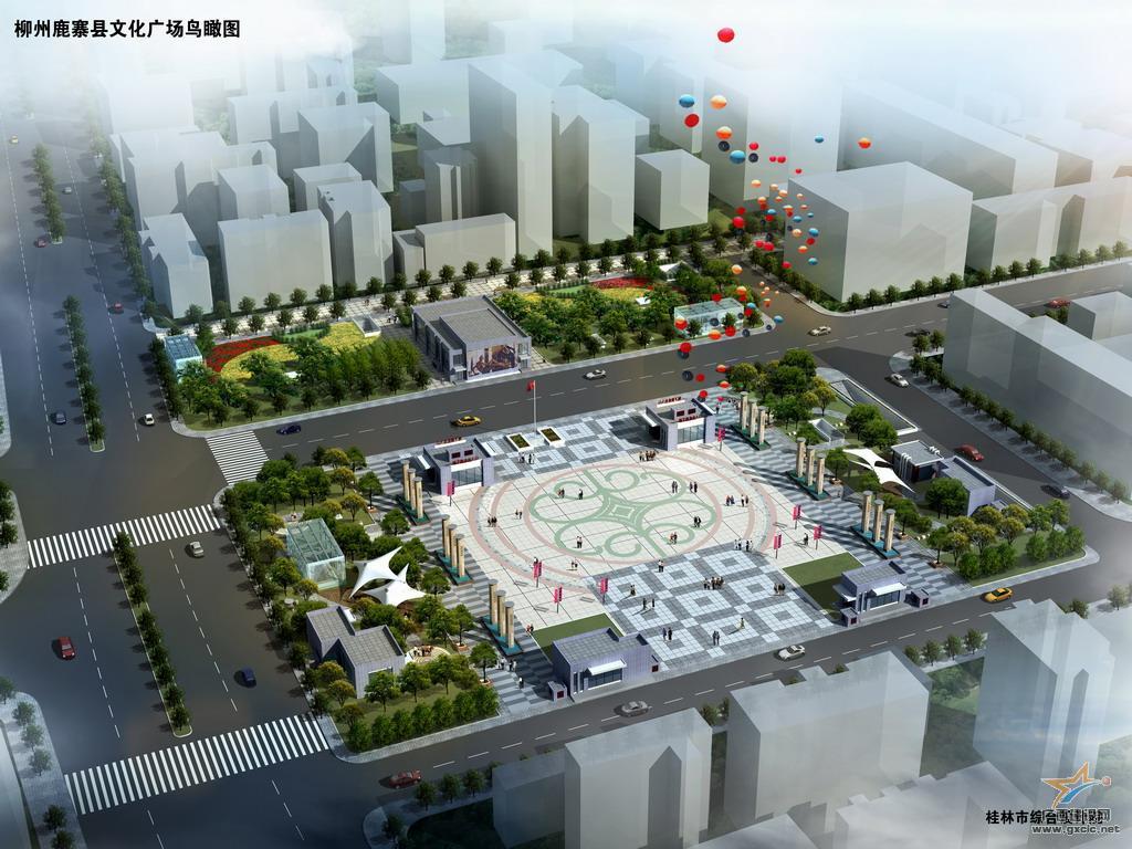 鹿寨县文化广场鸟瞰图(日景)(1)
