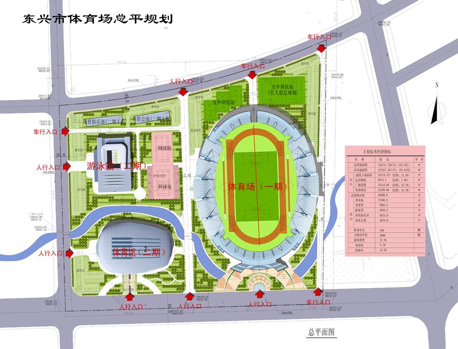 东兴市体育中心总平面图